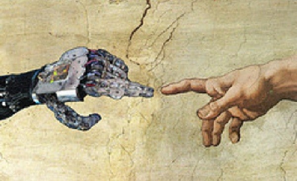 A human hand and robot hand meeting